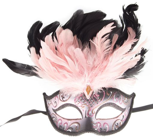 Rio Carnival Feather Eye Mask Pink