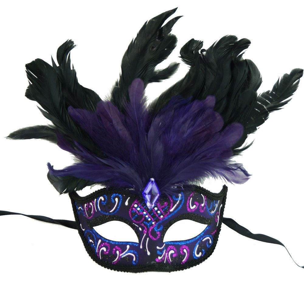 Rio Carnival Feather Masquerade Eye Mask Purple