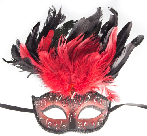 Rio Carnival Feather Eye Mask Red