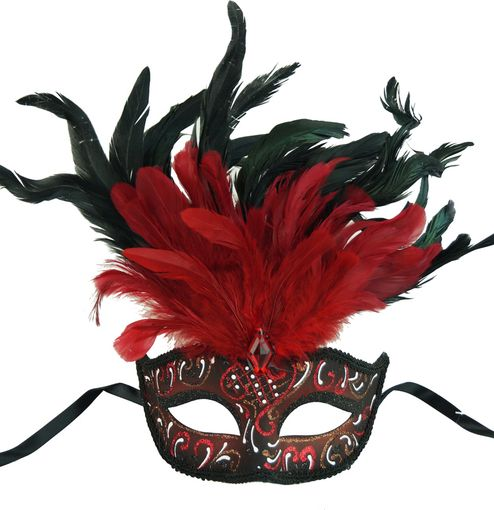Rio Carnival Feather REd Masquerade Mask