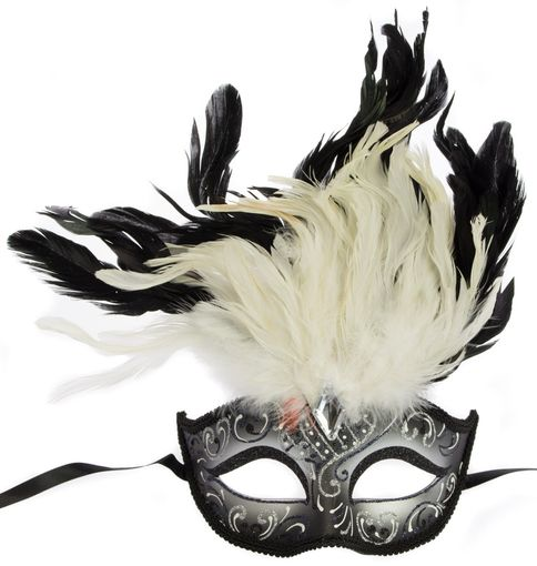 Rio Carnival Feather White Masquerade Mask