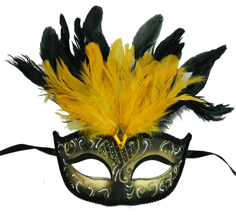 Rio Carnival Feather Masquerade Eye Mask Yellow