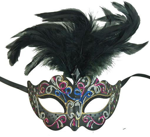 Rio Masquerade Mask Black Color With Feathers