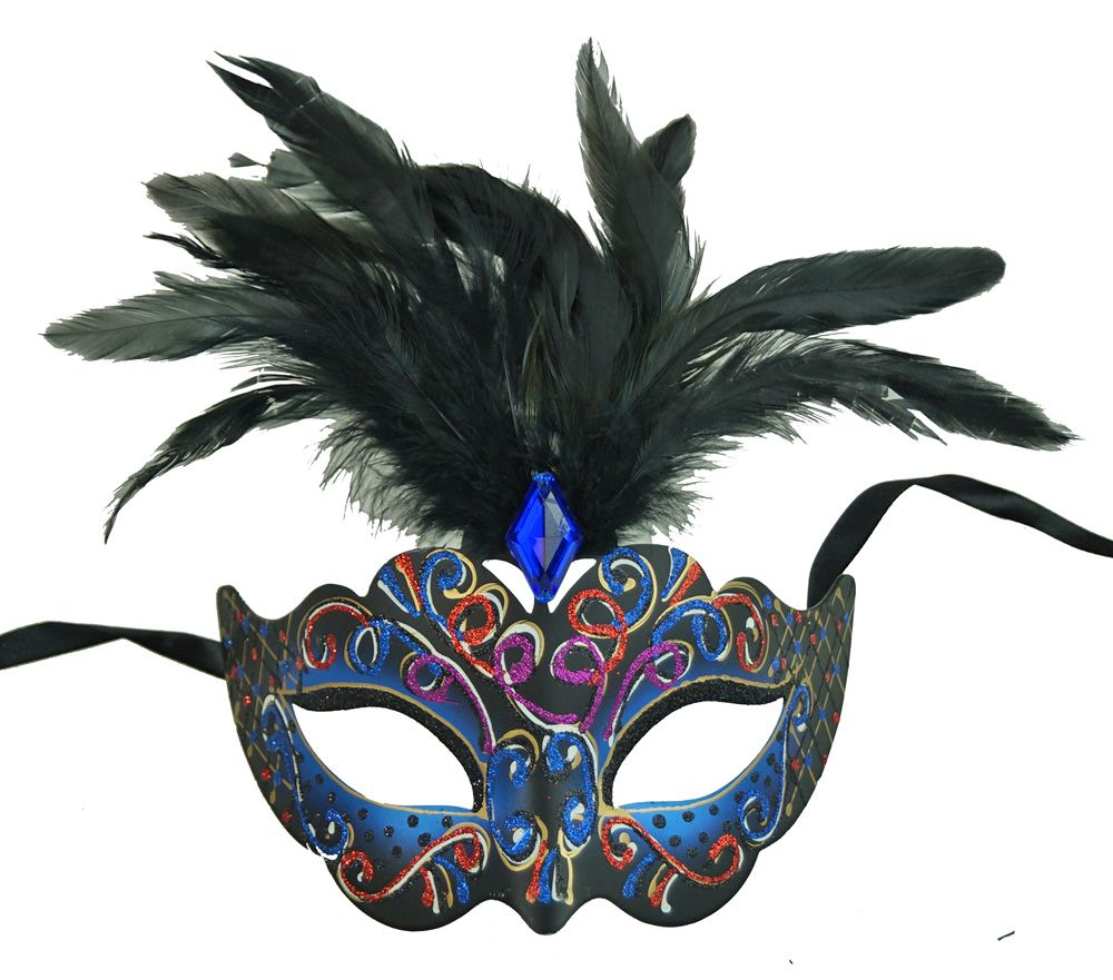 Rio Masquerade Mask In Blue Color With Feathers
