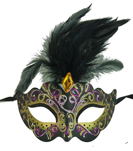 Rio Masquerade Mask In Gold Color With Feathers