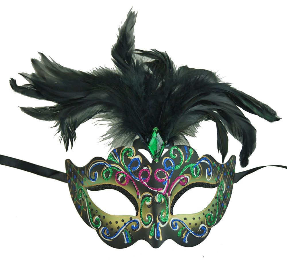 Rio Masquerade Mask In Green Color With Feathers