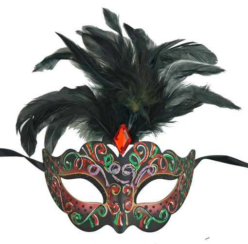 Rio Masquerade Mask In Red Color With Feathers
