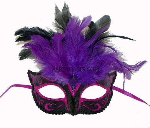 Rio Masquerade Eye Mask Purple/Black With Feathers
