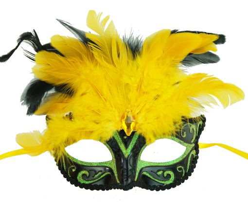 Rio Masquerade Eye Mask Green/Black With Feathers