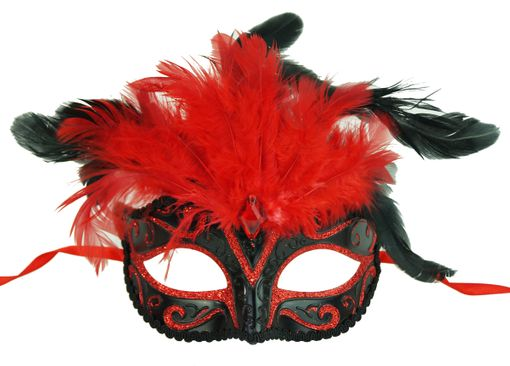Rio Masquerade Eye Mask Red/Black With Feathers