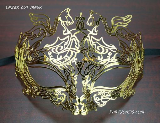 Roman Metal Lazer Cut Masquerade Mask Gold