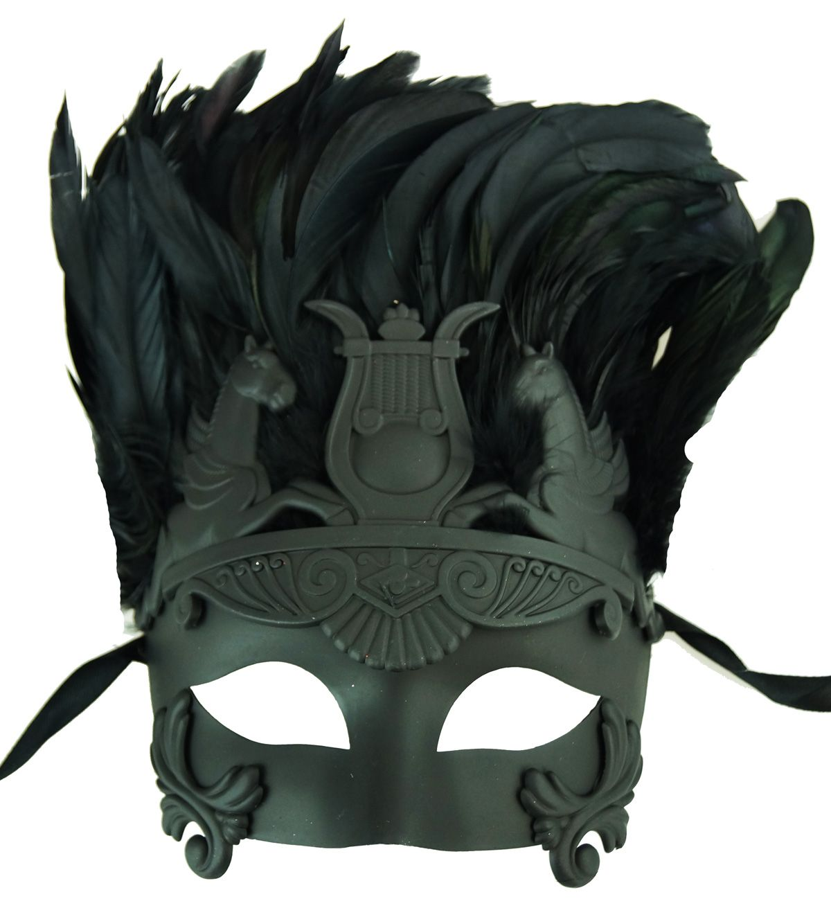 Black Roman Warrior Feathered  Eye Mask