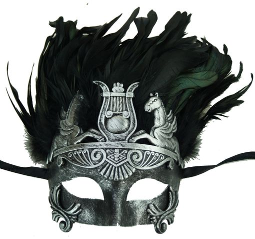 Roman Warrior Feather Eye  Color Mask Silver/Black