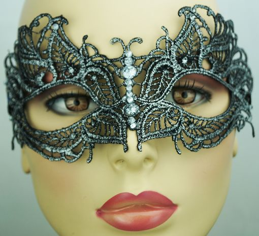 Saddie Embroidered Silver And Black Masquerade Mask