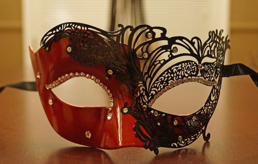 Shaylena Red Metal Masquerade Mask