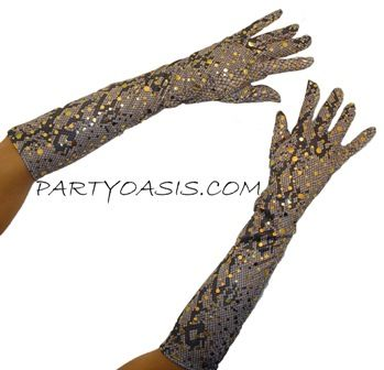 Shiny Snake Skin Print Gloves