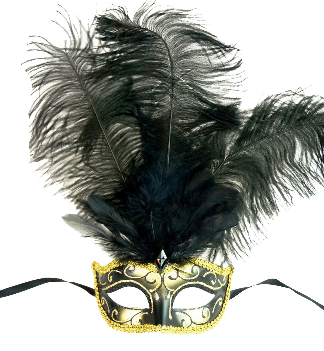 Show Girl Feather Mask Black