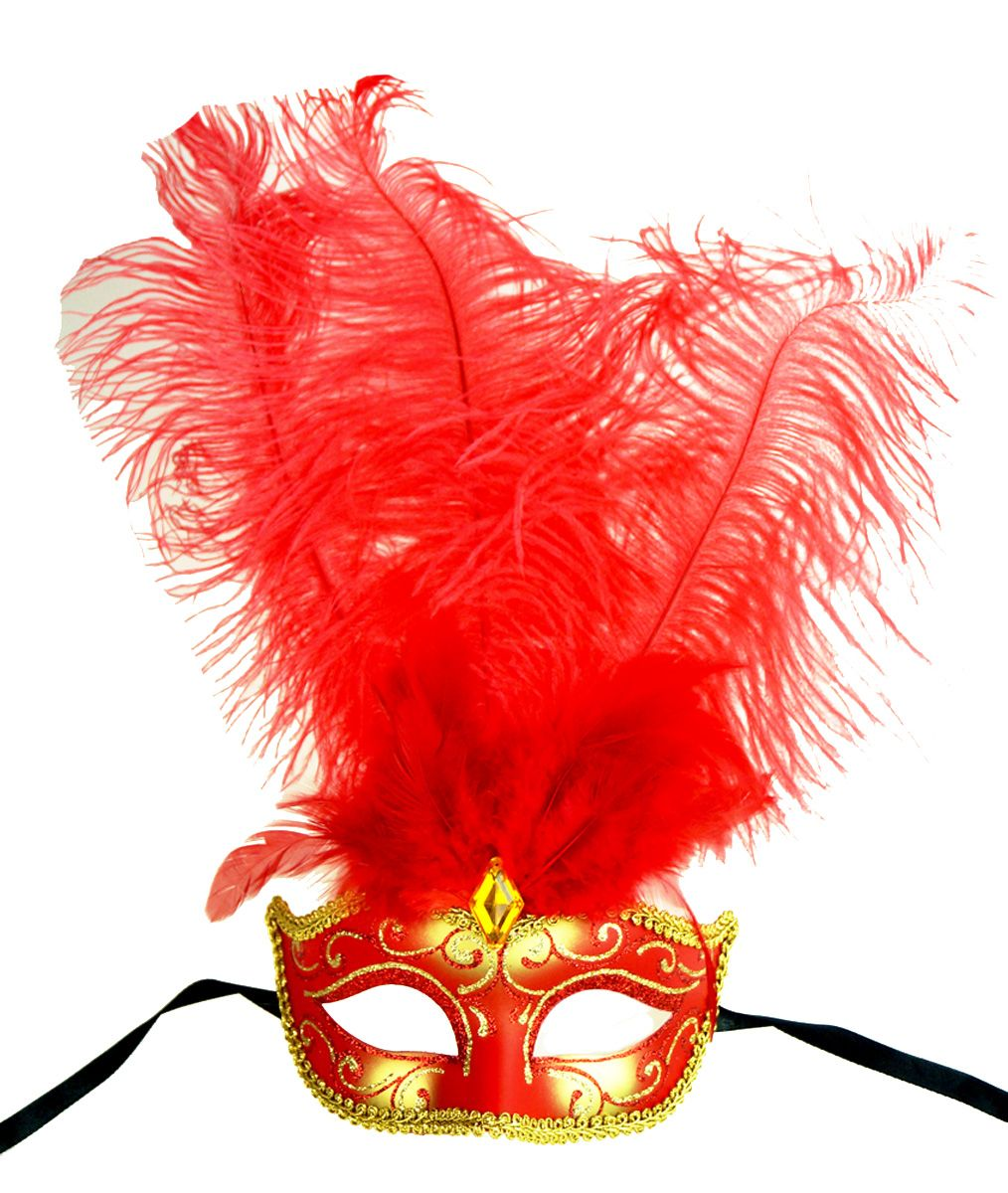 Show Girl Feather Mask Red