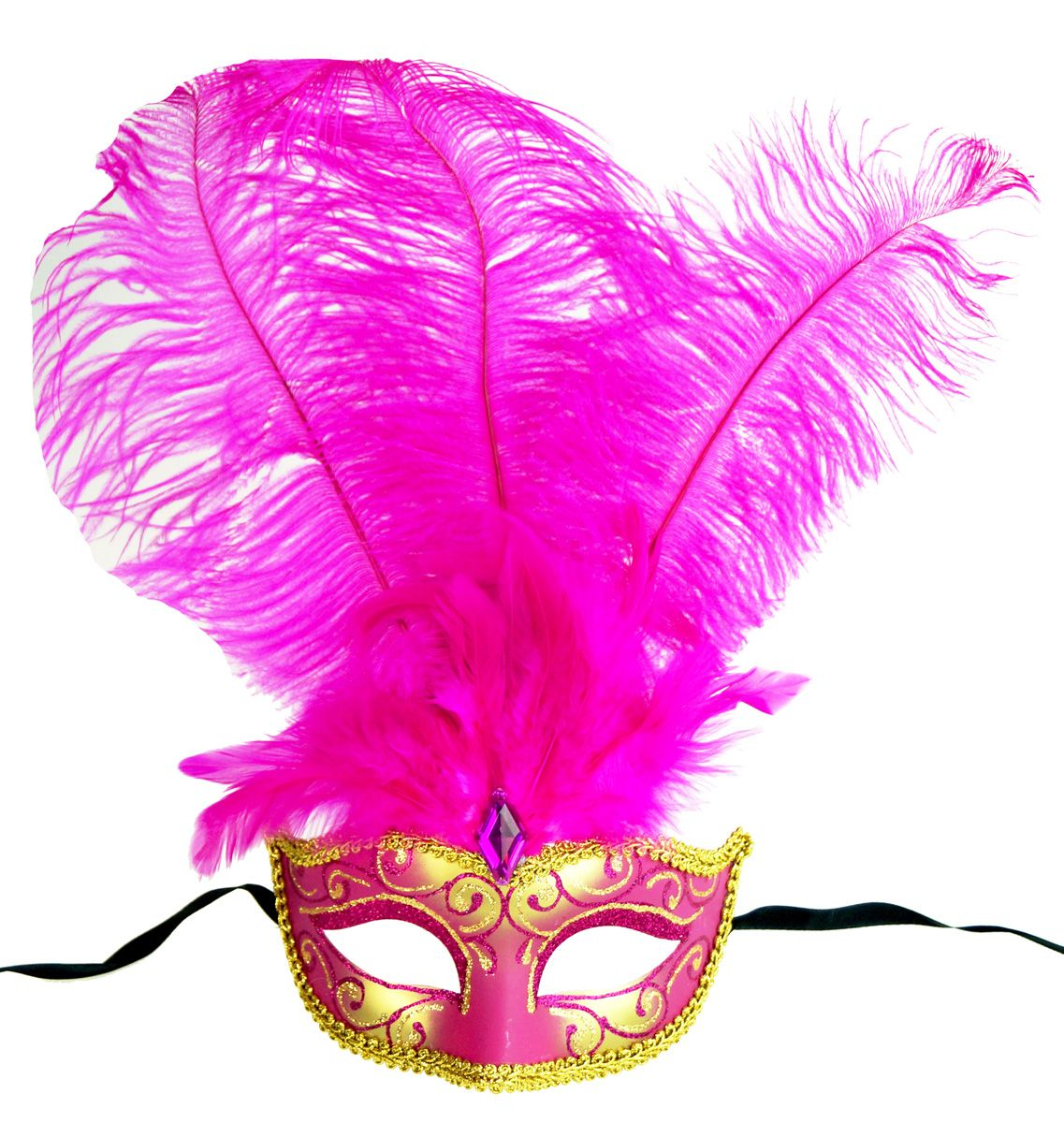 Show Girl Masquerade Mask In Hot Pink Color With Long Pink Feathers