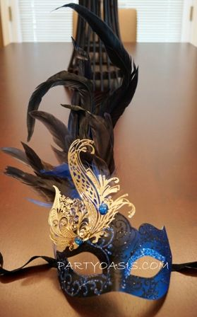 Women's Blue And Black Masquerade Feather Mask