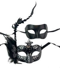 Silver And Black Couples Venetian Masquerade Masks