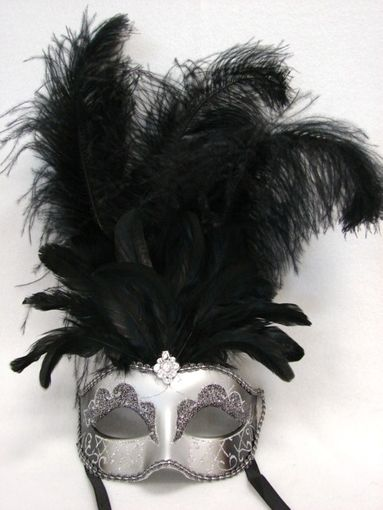Silver Black Showgirl Feather Mask