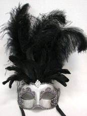 Vegas Showgirl Feather Masquerade Mask In Black
