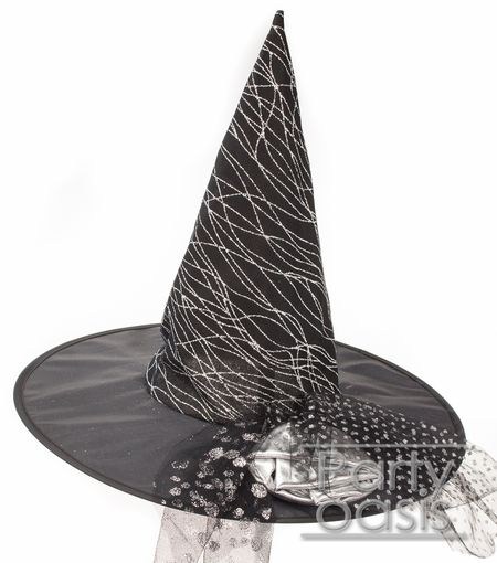 Silver Glitter Witch Hat