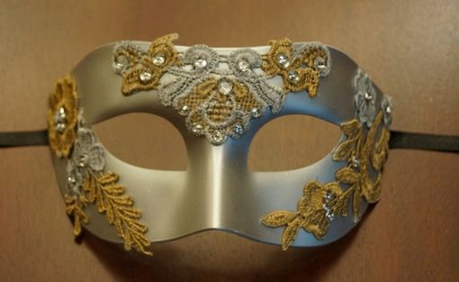 Silver Masquerade Mask with Gold Lace
