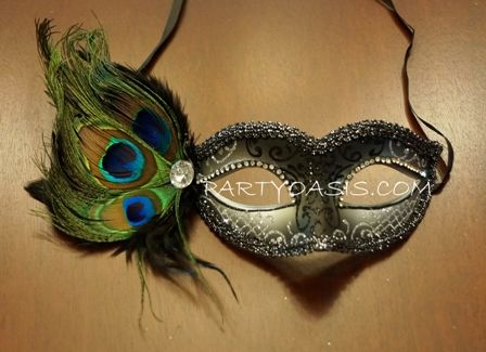 Silver Peacock Party Mask