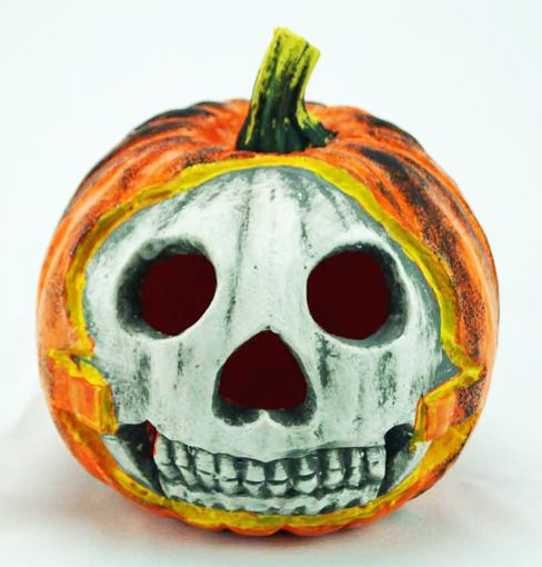 Skeleton Face Pumpkin 11""