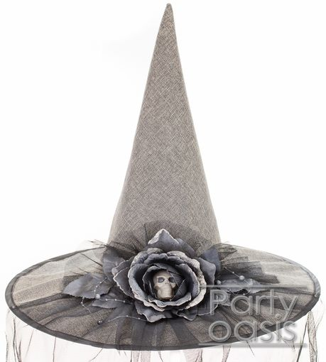 Skull Rose Witch Hat With Veil Gray