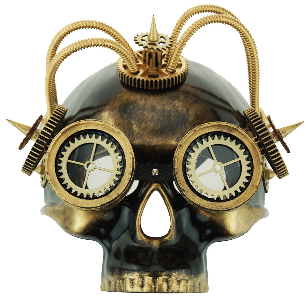 Men's Gold Skull Steampunk Mask With Goggles And Wirs