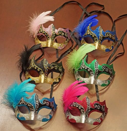 Skylar Masquerade Masks With Feathers