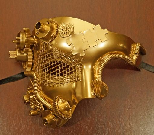 Solid Gold Half Steam Punk Mask