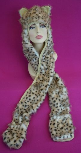 Spotted Leopard Faux Fur Hat with Mittens