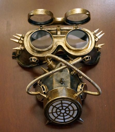 Gold Steampunk Gas Mask Respirator Costume Accessory