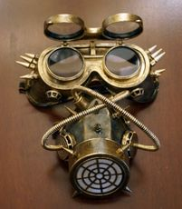 Steampunk Gas Mask And Goggles Gold