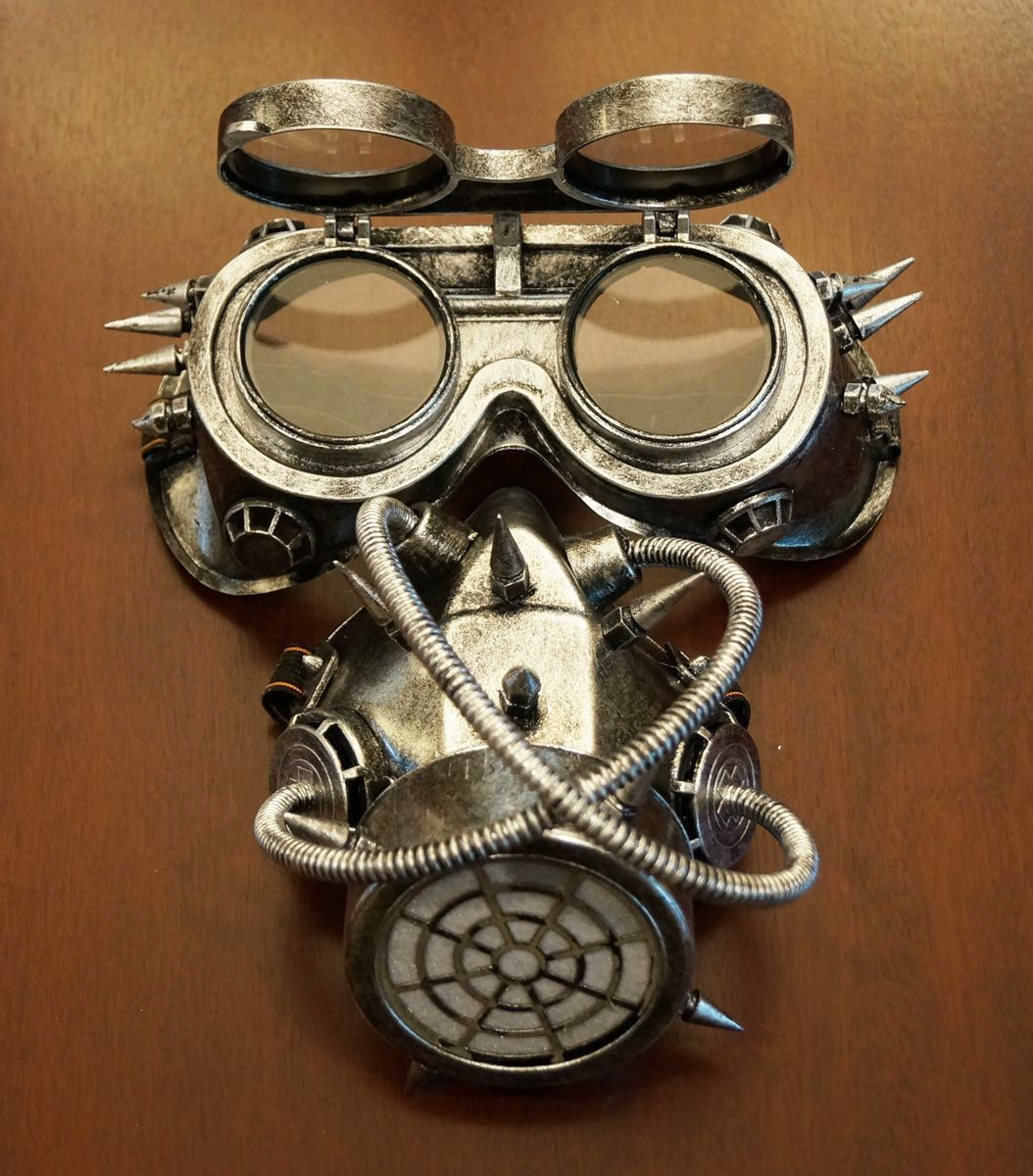 Steampunk Gas Mask And Googles Silver