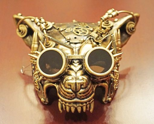 Steampunk Wolf Mask Gold