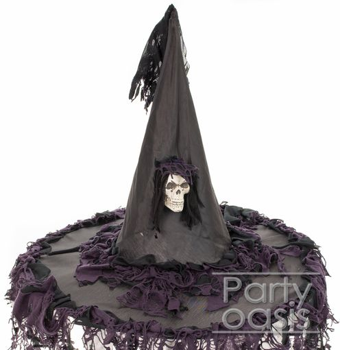 Tattered Witch Hat With Skull Black