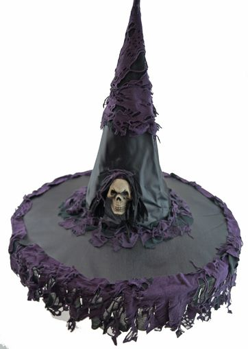 Tattered Witch Hat With Skull Halloween Witch Hat Black