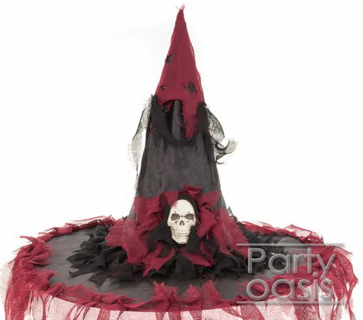 Tattered Witch Hat With Skull Red
