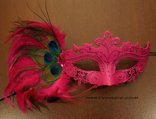 Tiffany Masquerade Mask Hot Pink With Feathers