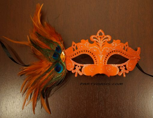 Tiffany Masquerade Mask Orange With Feathers