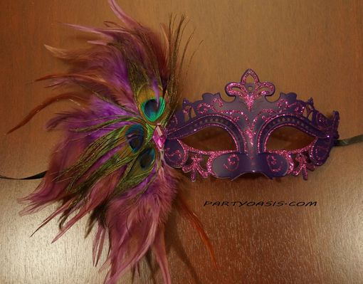 Tiffany Masquerade Mask Purple With Feathers