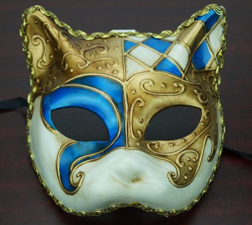 Traditional Venetian Cat Mask Blue