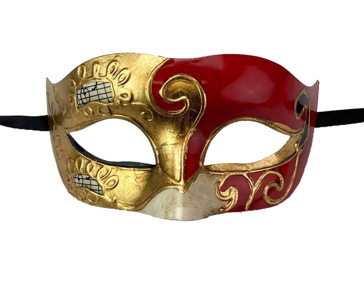 Men's Traditional Venetian Masquerade Eye Mask Red And Gold