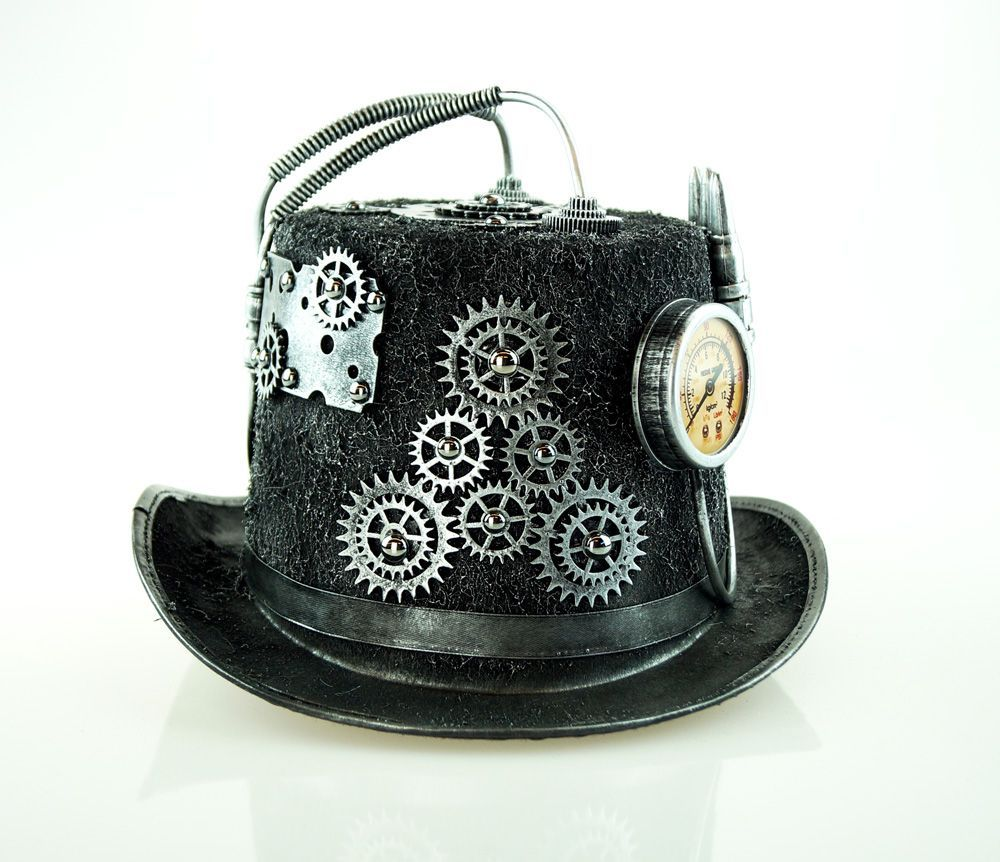 Turbine Steampunk Hat Silver