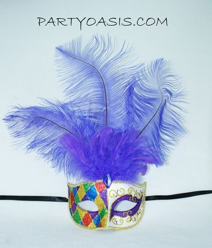 Purple Ultimate Mardi Gras Feather Masquerade Mask